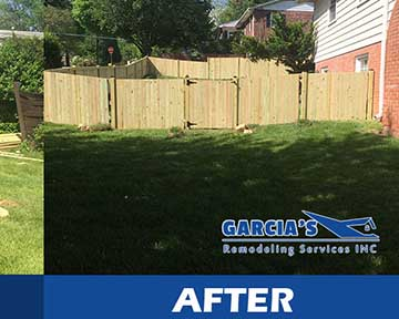 before and after hardwood fences installation